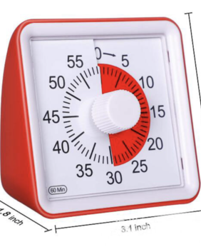 Silent 60 Minute Timer - Visual Timer RED