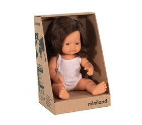 Miniland Doll - Anatomically Correct Baby, Caucasian Girl, Brunette, 38 cm