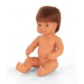 Miniland Doll - Anatomically Correct Baby, Caucasian Boy, Red Head 38 cm UNDRESSED