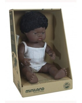 Miniland Doll - Anatomically Correct Baby, African Boy 38 cm