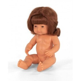 Miniland Doll - Anatomically Correct Baby, Caucasian Girl, Red Head 38 cm UNDRESSED