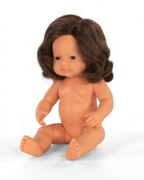 Miniland Doll - Anatomically Correct Baby, Caucasian Girl, Brunette 38 cm UNDRESSED