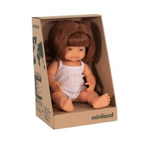 Miniland Doll - Anatomically Correct Baby, Caucasian Girl, RED HEAD , 38 cm