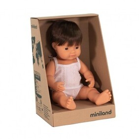 Miniland Doll - Anatomically Correct Baby, Caucasian Boy, Brunette 38 cm
